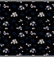seamless pattern with white and blue flowers vector image vector image