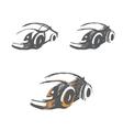 set hand-drawn car sketches vector image