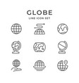 set line icons of globe vector image