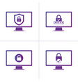 set of computer security protection business vector image