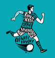 soccer player runs with the ball sport concept vector image