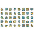 social project icons set flat vector image vector image