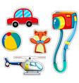 Sticker set of colorful toys vector image vector image