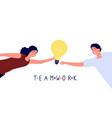 teamwork concept woman giving idea to man vector image vector image