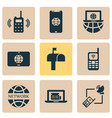 telecommunication icons set with laptop vector image vector image