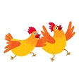 Two funny cartoon orange chickens hens rushing vector image vector image