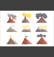 volcano eruption set volcanic magma blowing up vector image vector image