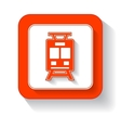 yellow train button vector image vector image