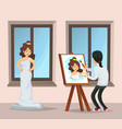 young artist drawing portrait of beautiful girl vector image