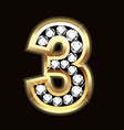 Number three bling gold and diamonds vector image