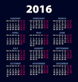 2016 calendar simple design art date color vector image vector image