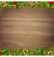 Border Fir Tree Branches With Wooden Background vector image vector image