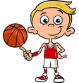 boy basketball player cartoon vector image