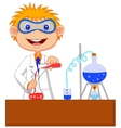 Boy cartoon doing chemical experiment vector image vector image