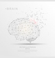 brain shape digitally drawn low poly wire frame vector image