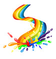 bright rainbow and colorful splash vector image
