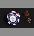 casino chips and dice isolated on black background vector image vector image