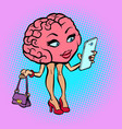 character brain woman with a smartphone vector image