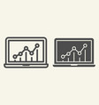 chart on laptop line and glyph icon graph on vector image vector image