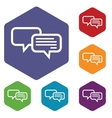 Chat hexagon icon set vector image vector image