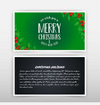 christmas card design with green background vector image vector image