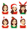 christmas emotions woman vector image vector image