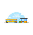 city public transport banner template bus stop vector image vector image