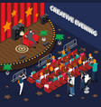 creative evening isometric composition vector image