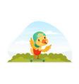 cute duckling bain cap riding skateboard on vector image