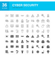 cyber security line web glyph icons vector image