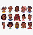 diverse faces african and latin american people vector image