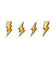 electric lightning set icons on a white vector image vector image