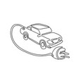 electric vehicle charging continuous line vector image