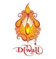 Elegant Oil Diwali Lamp vector image