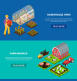 farm isometric banners set vector image vector image