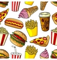 Fast food snacks seamless pattern vector image vector image