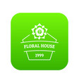 flower house icon green vector image vector image