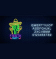 glowing neon fiesta holiday sign with alphabet vector image vector image