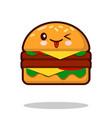 hamburger cartoon character icon kawaii fast food vector image