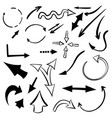 hand drawn set arrows isolated on white vector image