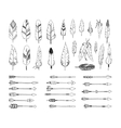 hand drawn tribal collection with arrows vector image