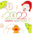 happy 2022 new year christmas cute design template vector image vector image