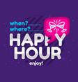 happy hour design pink sky blue purple colors vector image