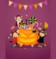 happy kids in halloween costumes and pumpkin vector image
