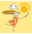 Happy little girl drawing sun vector image