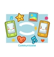 Kawaii gadgets communication funny card Doodles vector image