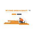 metallurgy processing website landing page welder vector image