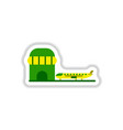 paper sticker on white background airplane airport vector image vector image