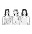 pop art beautiful women smiling cartoon in black vector image vector image