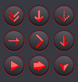 red arrows on black buttons 3d icons set vector image vector image